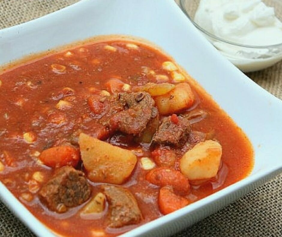 Slow Cooker Tomato Vegetable and Beef Stew -- easy and comforting weeknight dinner idea!