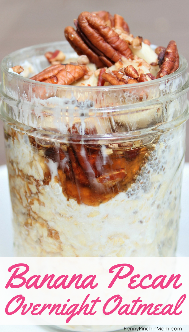 Super easy overnight Banana Pecan Overnight Oatmeal - a perfect simple breakfast recipe!!