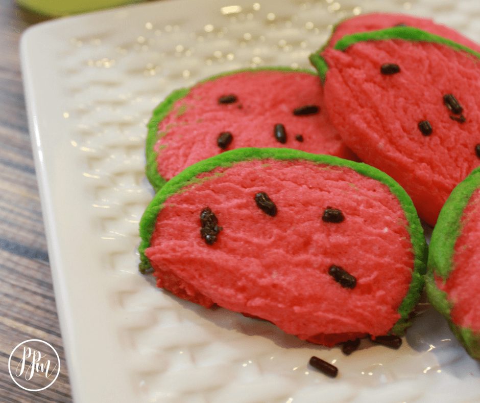 watermelon cookies on a white plate