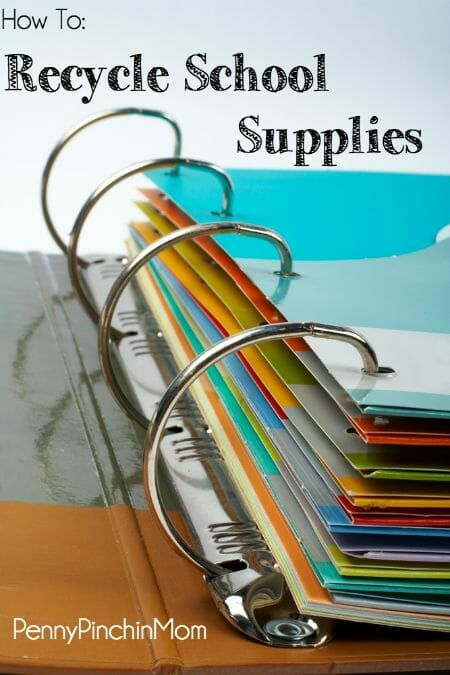 Recycle School Supplies to give them new life! It will save money - and keep items out of the landfill!