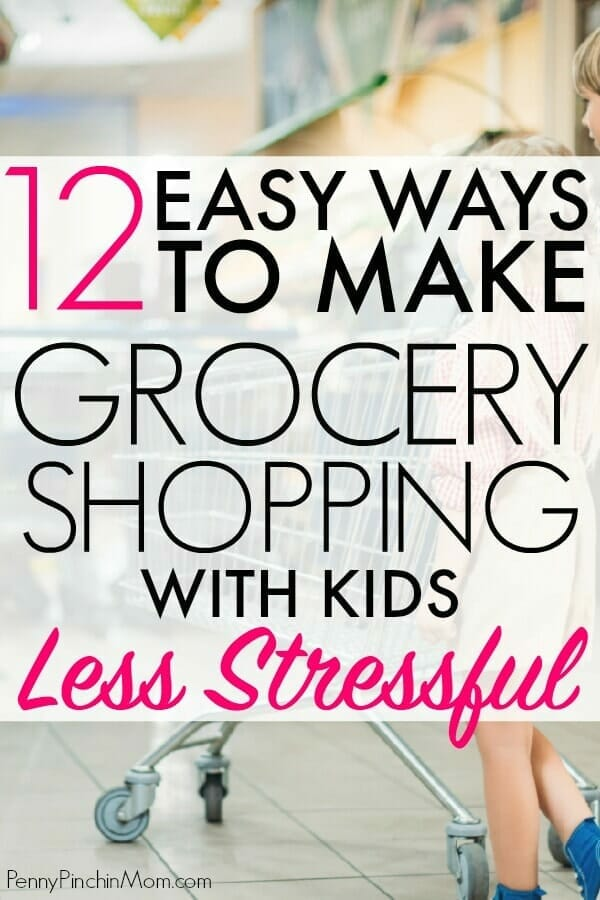 A MUST READ list before you grocery shop with your kids!  Easy ways to keep your toddler and kids entertained so that shopping with kids is easier and less stressful.  Pin this and share with any parent you know!  #parenting #shoppinghack #kids #toddlers #shoppingtips #shoppingtricks #groceryshopping #parentinghacks #PPM