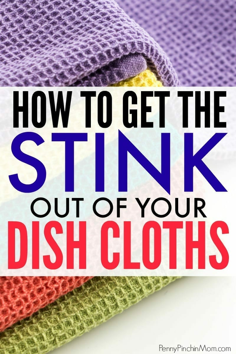 Simple cleaning idea:  make kitchen rags like new again!!  This is such a simple trick to get rid of smelly dish cloths in just a few minutes every month!   No need to waste money buying new -- you can just strip them and make them just LIKE new again instead.