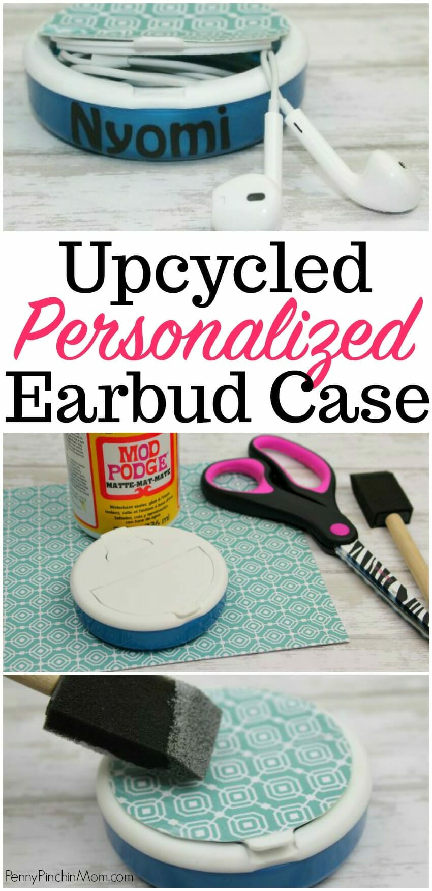 Upcycled Earbud Case!  Easy to make so your earbuds don't get tangled up.