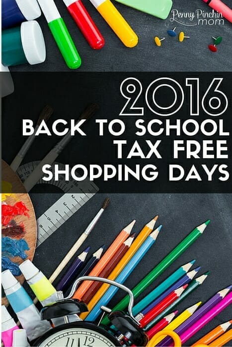 2016 Back to School Tax Free Shopping Days - Save money and get back to school clothes and supplies!