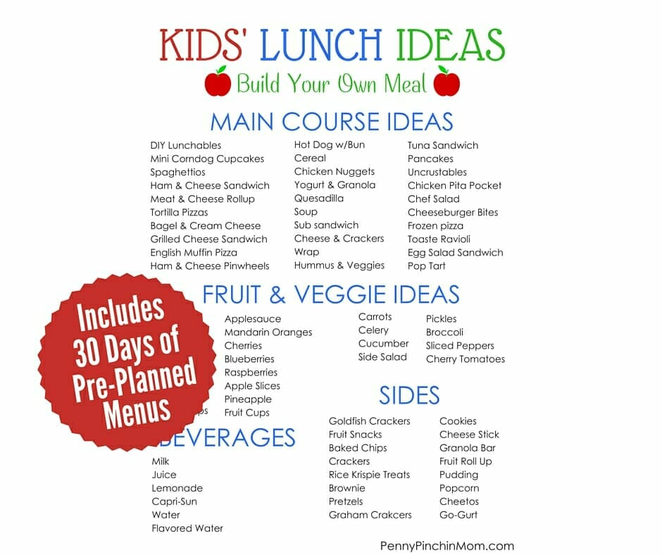 30 Days Of Kid Approved School Lunches Complete Menus