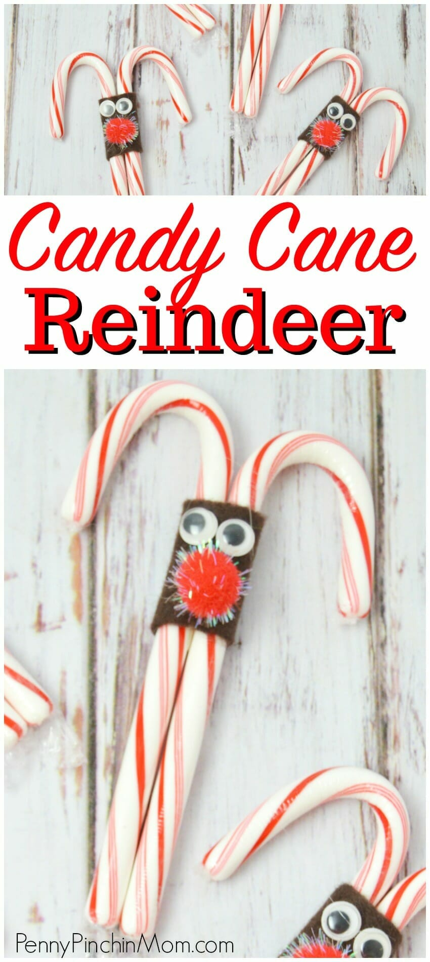 Easy DIY Christmas Party Treat Idea - Reindeer Candy Canes  Christmas decorations | Christmas crafts | school party craft idea | holidays  #Christmas #crafts #kids