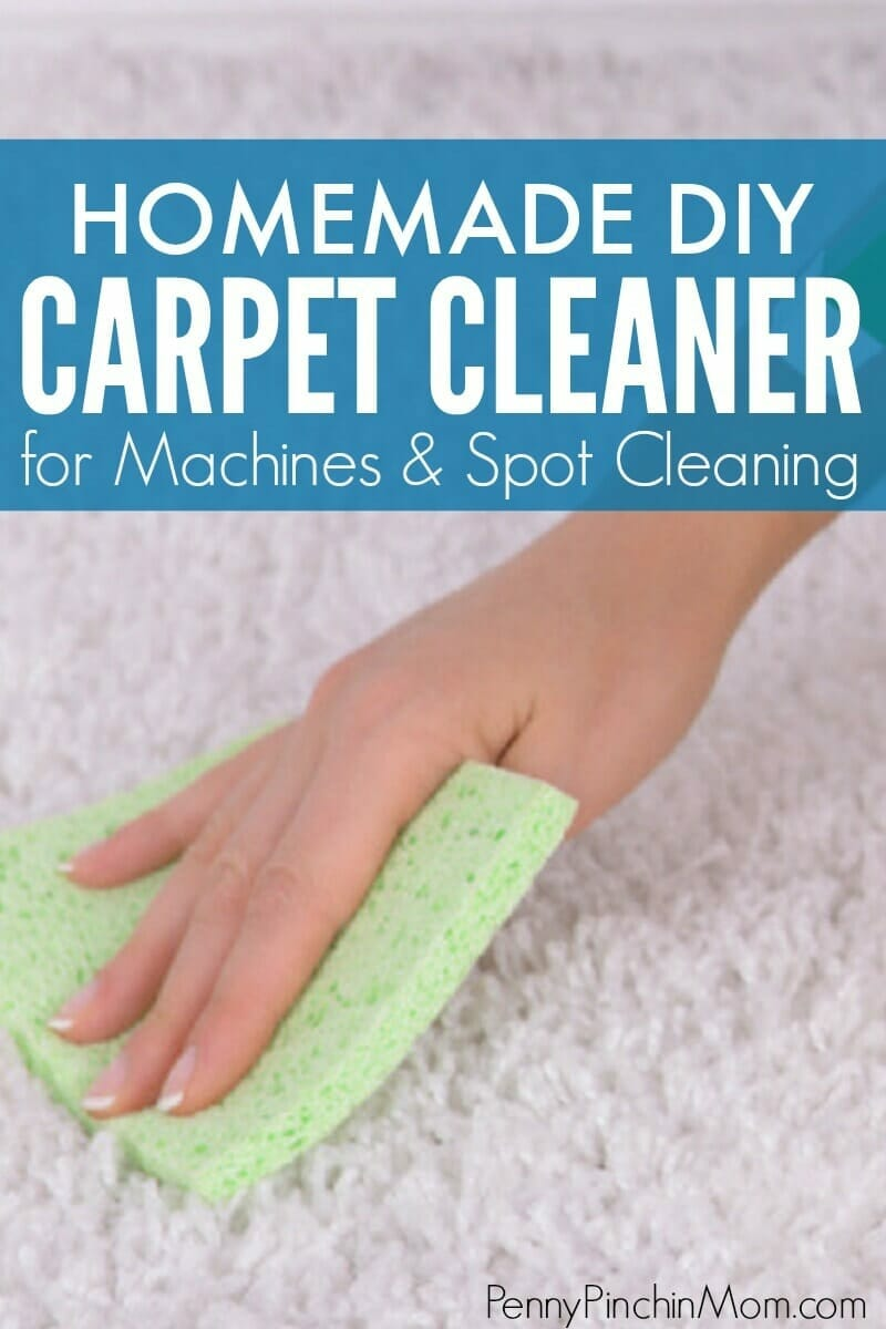 Forget buying it - make your own carpet cleaner!  Two different recipes - one for spot cleaning small stains and another one that you can use in your carpet cleaning machine.  Easy homemade recipes you can make for pennies at home.  #carpet #cleaning #carpetcleaning #homemadecleaners