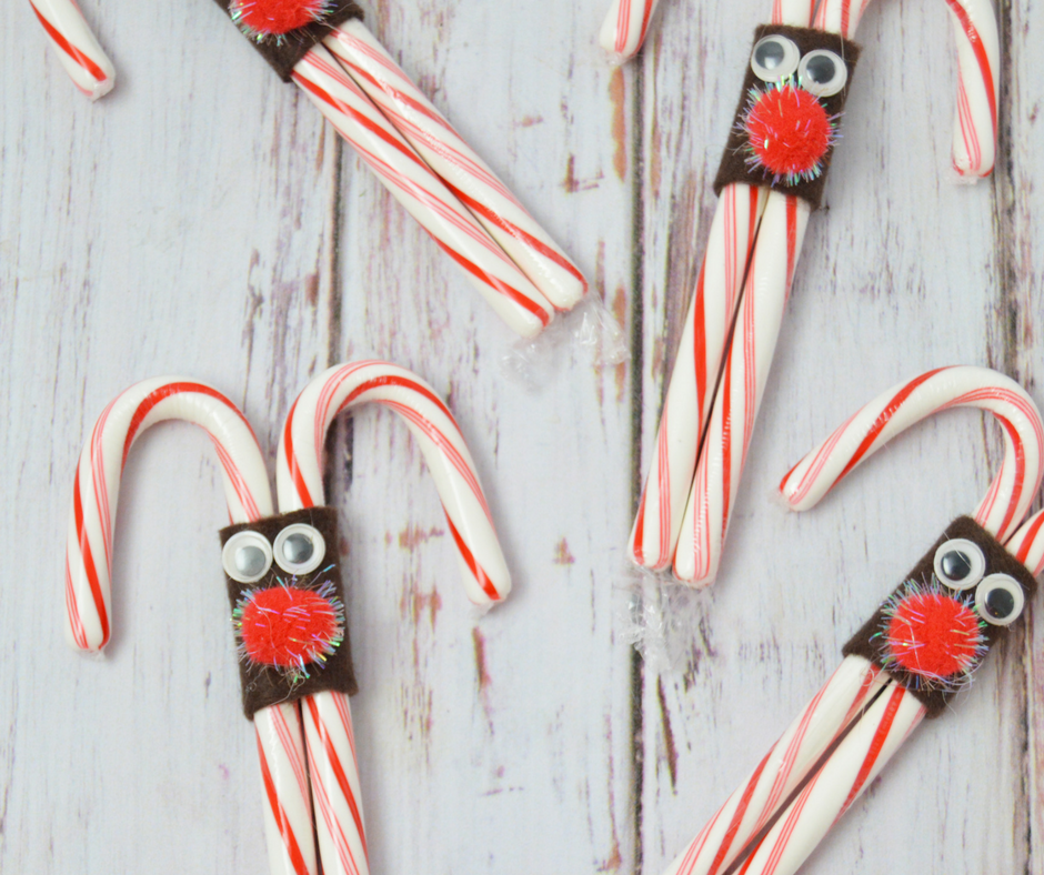 Easy DIY Christmas Party Treat Idea - Reindeer Candy Canes