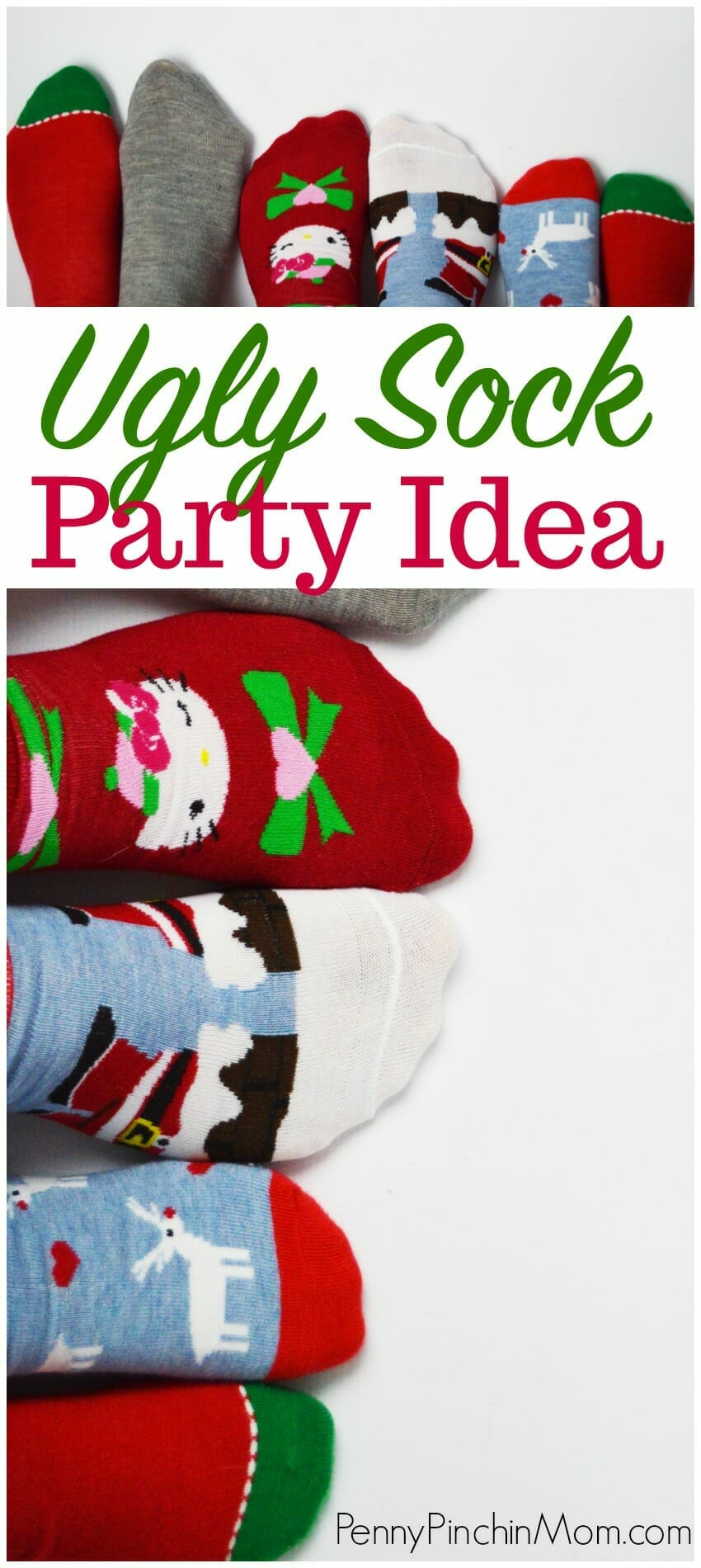 Christmas Party Idea - Host an Ugly Sock Party!  An easy to get creative is to invite your friends over and enjoy UGLY socks!  Find out how you can have this type of party to celebrate the holidays this year.