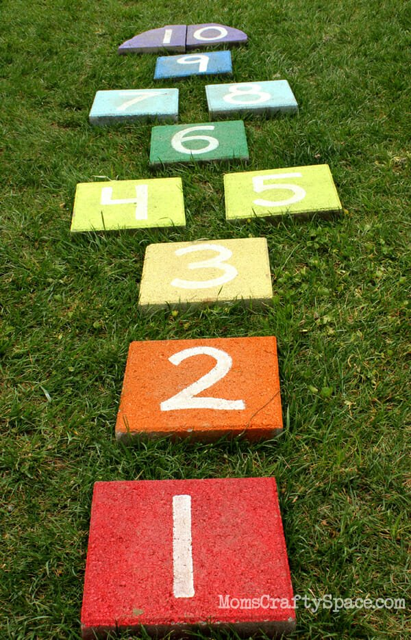 17 do it yourself outdoor games for your next party rainbow paver hopscotch solutioingenieria Choice Image