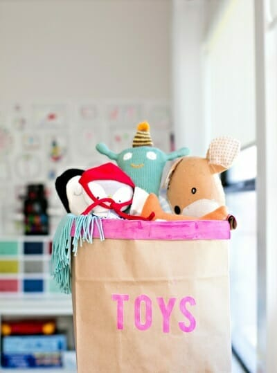 toy storage ideas - paper bag