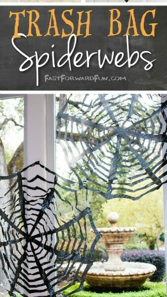 Halloween Decorating Idea - Trash Bag Spiderwebs