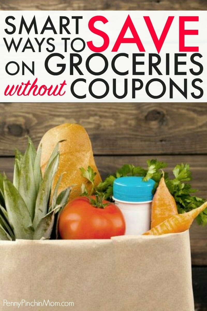 Smart ways to save money on groceries -- without having to clip any coupons!  Easy strategies and ideas anyone can use to spend less and save more on food for their family!  #groceries #savemoneyongroceries #grocerysavingstips #spendless #grocerybudget #PPM