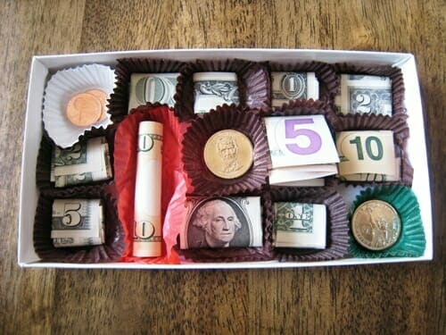 money gift ideas - candy box