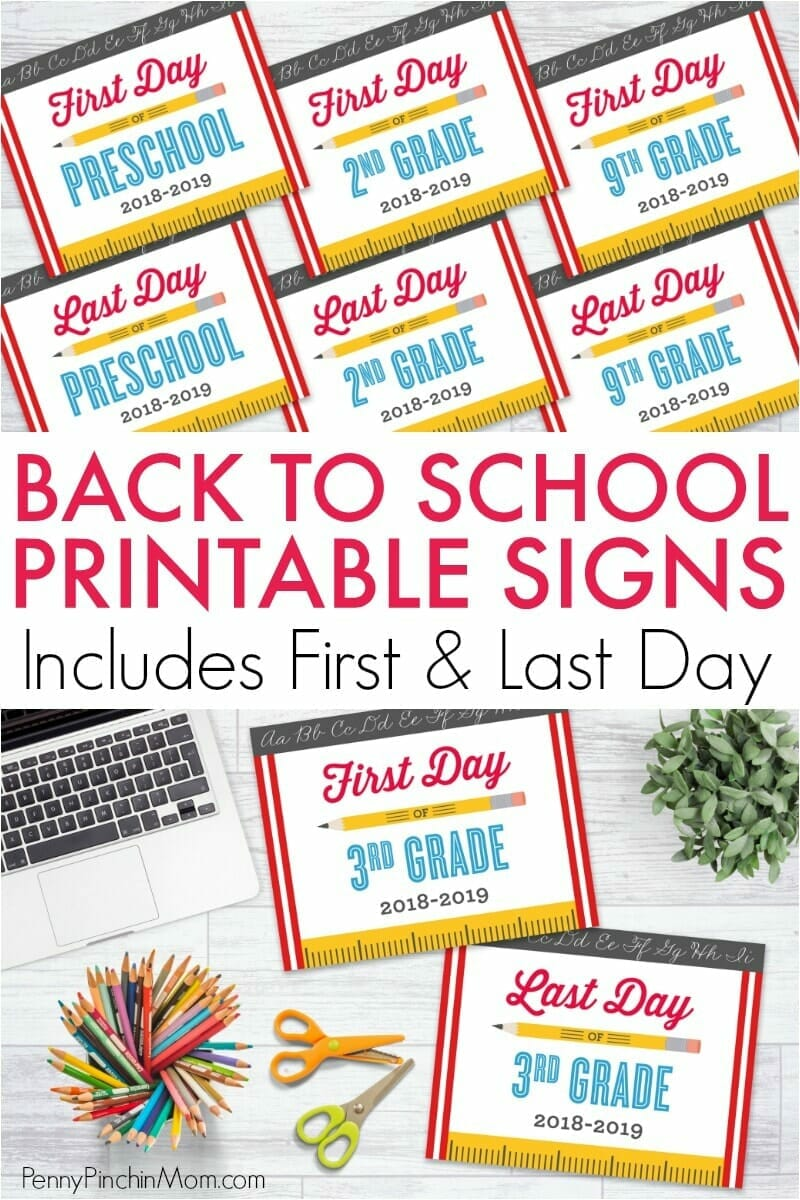 Adorable back to school printable signs for your kids to hold when you take those pictures! You'll even get the matching LAST day of school sign too!  